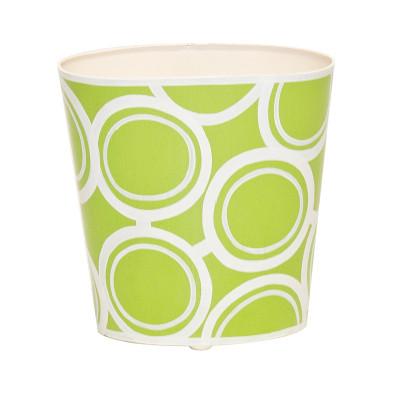 Oval Wastebasket Green And Cream Design