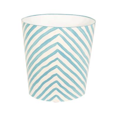 Oval Wastebasket Turquoise And Cream Zebra