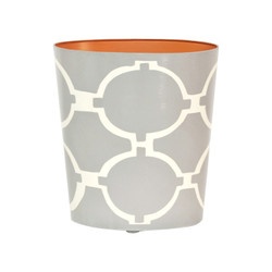 Oval Wastebasket Grey And Cream
