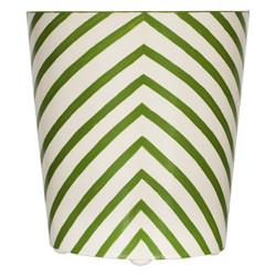 Oval Wastebasket Cream And Green Zebra