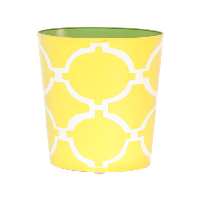 Oval Wastebasket Green, Off-White, Yellow
