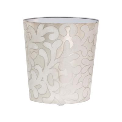 Oval Wastebasket Lavendar And Silver