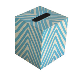 Kleenex Box Turquoise And Cream Zebra