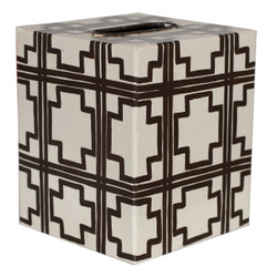 Kleenex Box Cream With Brown Squares