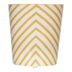 Oval Wastebasket Yellow And Cream Zebra