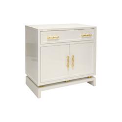 Marcus White Lacquer 1 Drawer, 2 Door Nightstand With Gold Leafed Bamboo Hardware And Gold Leaf Metal Detail