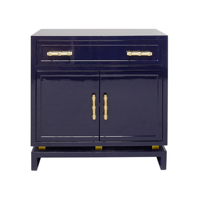 Marcus Navy Lacquer 1 Drawer, 2 Door Cabinet With Gold Leafed Bamboo Hardware And Gold Leafed Metal Detail