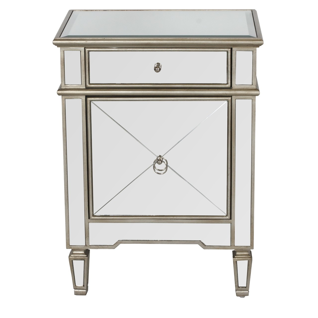 Worlds Away Claudette Mirrored Nightstand With Painted Silver Edge And Crosshatch Detailing
