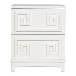 Pagoda 2 Drawer Greek Key Nightstand In White Lacquer