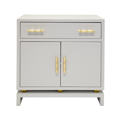 Marcus Matte Gray Lacquer 1 Drawer, 2 Door Nightstand With Gold Leafed Bamboo Hardware And Gold Leaf Detail On Base