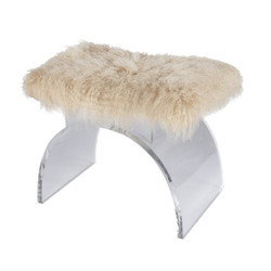 Marlowe Lucite Arched Stool Base With Natural Mongolian Fur Cushion