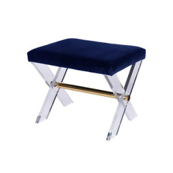 Dixon Lucite X Base Stool With Brass Stretcher & Navy Velvet Upholstered Cushion