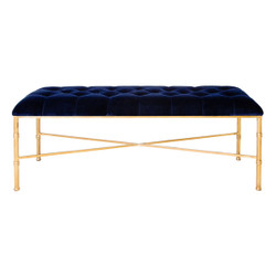 Stella Gold Leafed Bamboo Bench With Navy Upholstered Velvet Seat