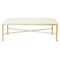 Stella Gold Leafed Bamboo Bench With White Vinyl Upholstery