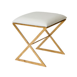 """X"" Side Stool In White Faux Ostrich Top"