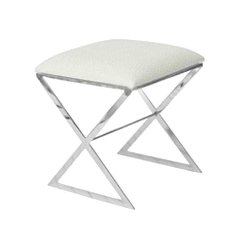Swell Worlds Away X Side Stool In Nickel Plate With White Faux Ostrich Top Pabps2019 Chair Design Images Pabps2019Com