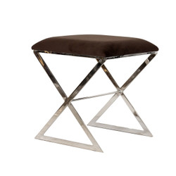 """X"" Side Stool In Nickel Plate With Brown Velvet Top"