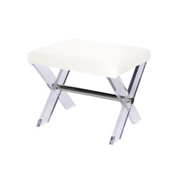 Dixon Lucite X Base Stool With Nickel Stretcher & White Linen Upholstered Cushion