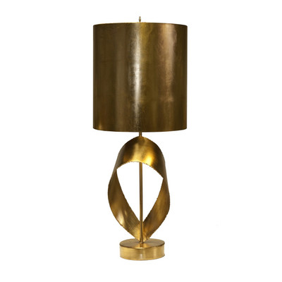 Jennings Gold Leaf Brutalist Ribbon Table Lamp With Gold Metal Shade