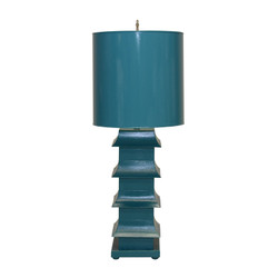"Turquoise Painted Large Tole Pagoda Lamp With 13"" Dia Painted Tole Shade"