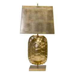 Cecile Gold Leafed Tortoise Shell Lamp With Rectangular Metal Shade