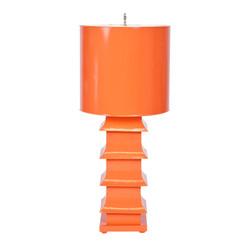 "Orange Painted Large Tole Pagoda Lamp With 13"" Dia Painted Tole Shade"