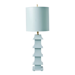 "Powder Blue Painted Tole Pagoda Lamp With 11"" Dia Painted Tole Shade"