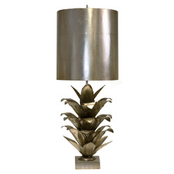 Arianna Silver Leaf Brutalist Palm Table Lamp With Silver Metal Shade