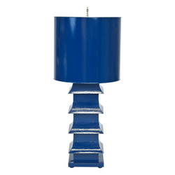 "Navy Painted Large Tole Pagoda Lamp With 13"" Dia Painted Tole Shade"