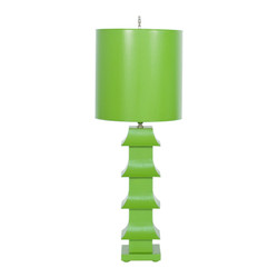 "Green Painted Tole Pagoda Lamp With 11"" Dia Painted Tole Shade"