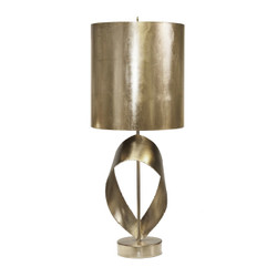 Jennings Silver Leaf Brutalist Ribbon Table Lamp With Silver Metal Shade