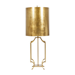 Windham Gold Leaf Iron Lamp With Gold Leaf Metal Drum Shade