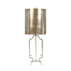 Windham Champagne Silver Leaf Iron Lamp Base With Champagne Silver Leaf Metal Drum Shade