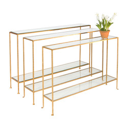 Woodard Medium Hammered Gold Leaf Console With Clear Glass Shelves