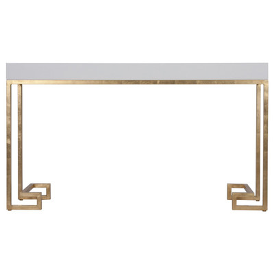Barsanti White Lacquer Console With Gold Leaf Greek Key Base