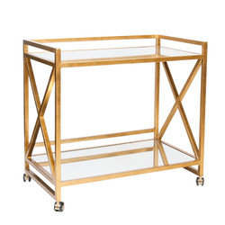 "Gerard Gold Leafed ""X"" Bar Cart With Mirrored Tops"