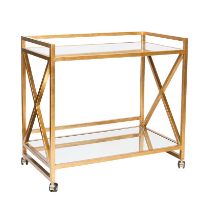 """Gerard Gold Leafed """"X"""" Bar Cart With Mirrored Tops"""