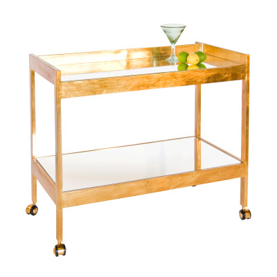 Roland Gold Leaf Bar Cart With Mirrored Shelf