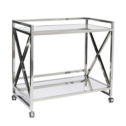 "Gerard Polished Stainless ""X"" Bar Cart With Mirrored Tops"