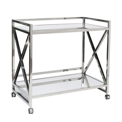 """Gerard Polished Stainless """"X"""" Bar Cart With Mirrored Tops"""