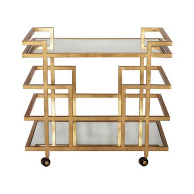 Ireland Gold Leaf Linear Bar Cart With Mirror Shelves