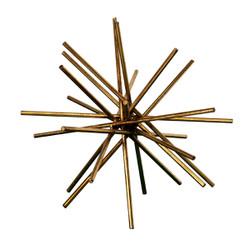 "Urchin 12"" Diameter Iron Rod Asterisk In Gold Leaf"