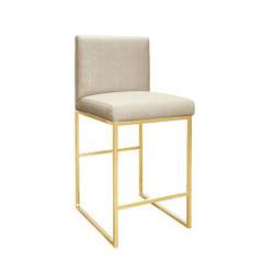 Kingston Faux Shagreen Pearly Beige Counter Stool With Brass Base