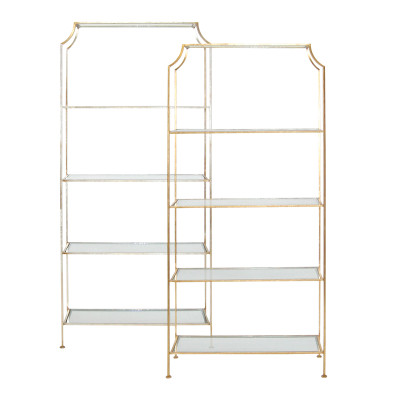 Chloe Gold Leafed Etagere With Clear Glass Shelves
