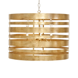 Turner Gold Leaf Striped Metal Pendant With Interior 3 Candle Cluster