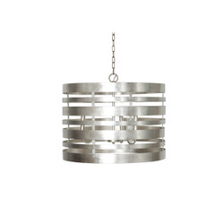 Turner Silver Leaf Striped Metal Pendant With Interior 3 Candle Cluster