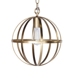 Pemble 12 Inch Diameter Iron Sphere Pendant In Gold Leaf