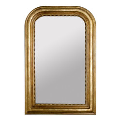 Waverly Handcarved Gold Leaf Curved Top Rectangular Mirror Nonantiqued Mirror Insert