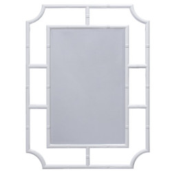 Marian Mirror With Bamboo Detail Frame In White Lacquer