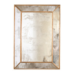 Dion Rectangular Antique Mirror With Gold Leafed Wood Edges